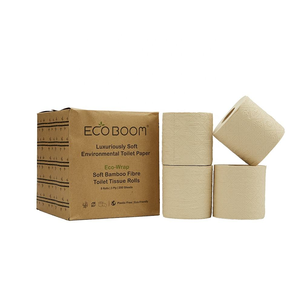 ECO BOOM water soluble toilet paper Soft and Hygienic 3 Ply Bathroom Tissue bamboo toilet paper roll