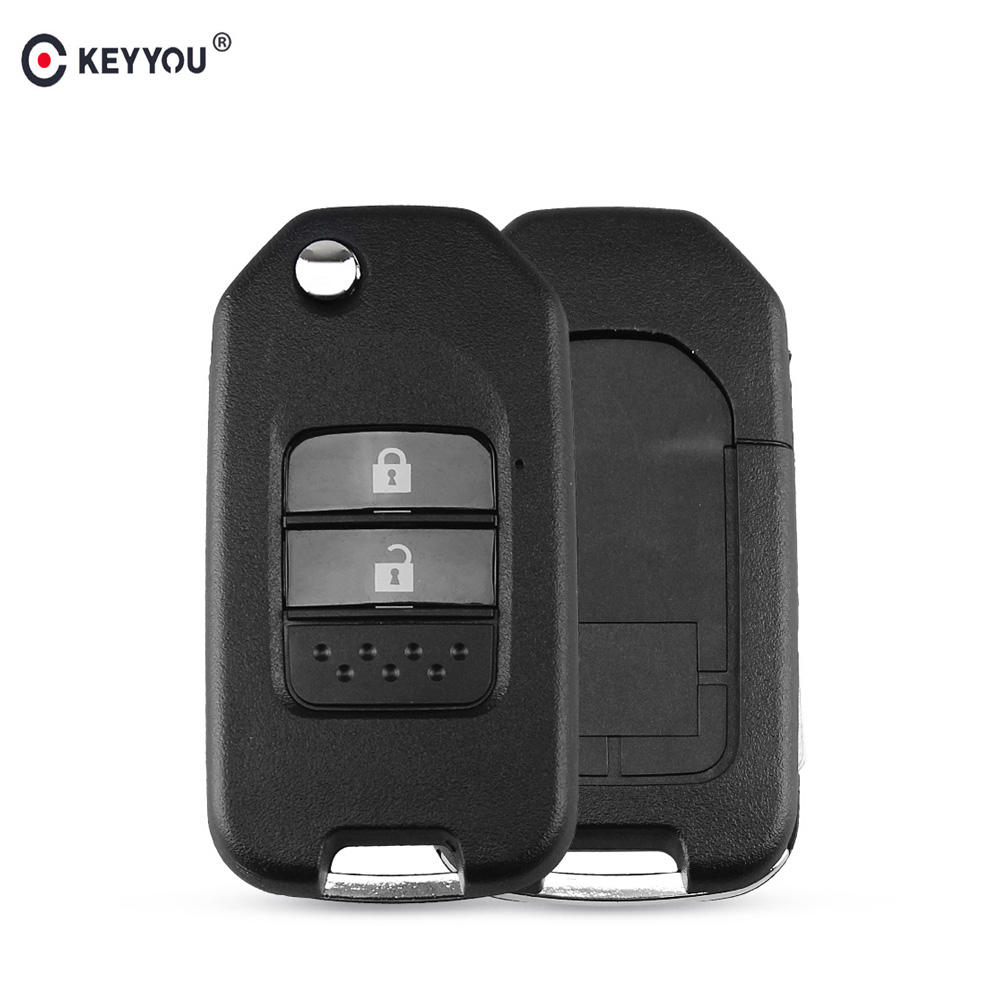 KEYYOU For Honda FIT XRV VEZEL CITY JAZZ CIVIC HRV 2 Buttons Modified Flip Folding Car Remote Key Shell Case Fob Cover