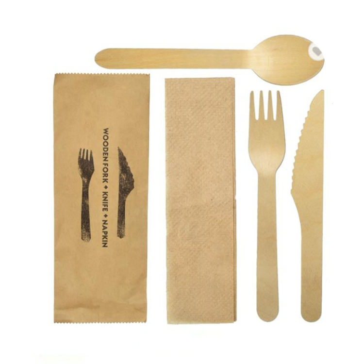 restaurant cutlery wooden spoons wood Knife fork spoon disposable