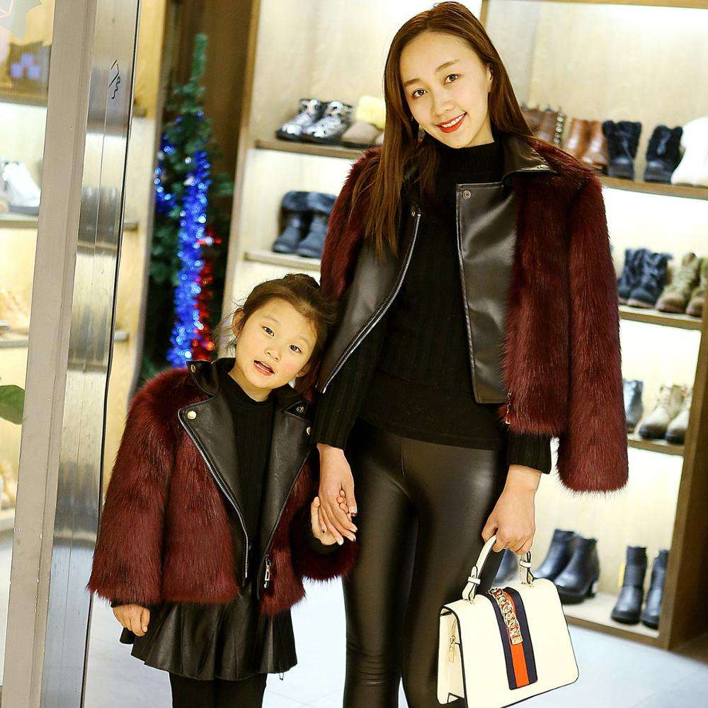 New imitation fox fur parent-child autumn and winter motorcycle fashion children's fur coat