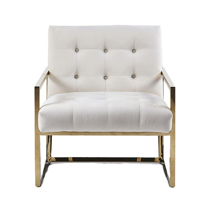 Metal legs reliner wing single sofa chair with white velvet