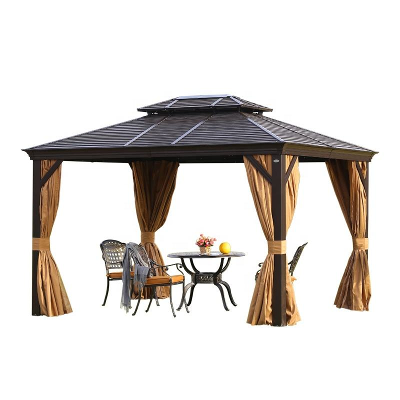 Solid Roof Aluminium Gazebo Outdoor Garden Gazebos Morden Party Galvanized Hardtop Metal Frame 3*4M Luxury