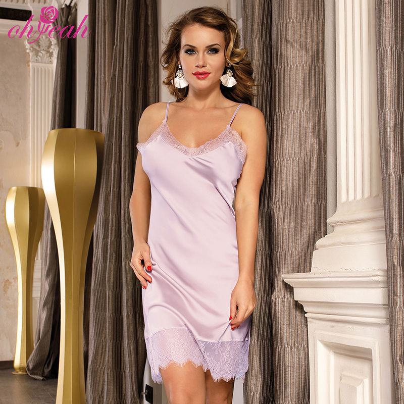 Private label sleeveless women two piece dress sexy silk nighty with backless