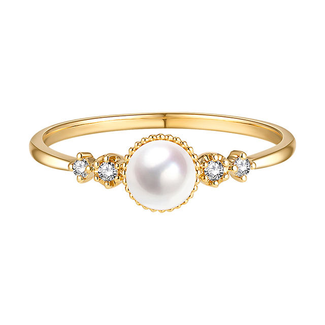 White Natural High Quality Luxury Akoya Pearl RingとDiamonds 18K Gold Jewelry Free Shipping