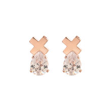 2020 The Latest Design Cross Metal Earring Water Drop Zircon Stone Shing Gold Pating Stud Earring Hot Sales