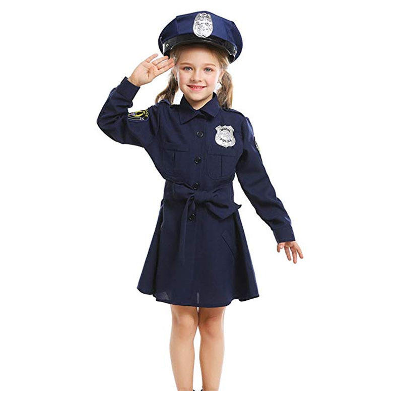 Police girl role play Christmas children holiday stage performance costume