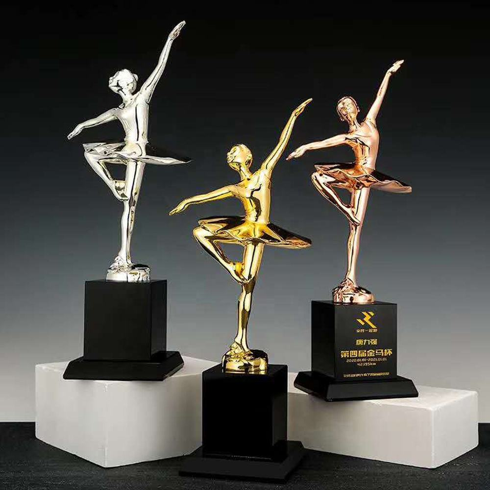 Wholesale new custom metal ballet dancers figurine trophy awards souvenir in gold silver bronze