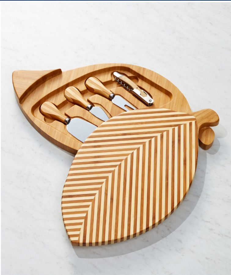 Bamboo cheese board and knife set ,Leaf style cheese board