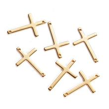 High polish quality cheap wholesale christian cross jewelry stainless steel sideways cross charm for bracelet necklace making