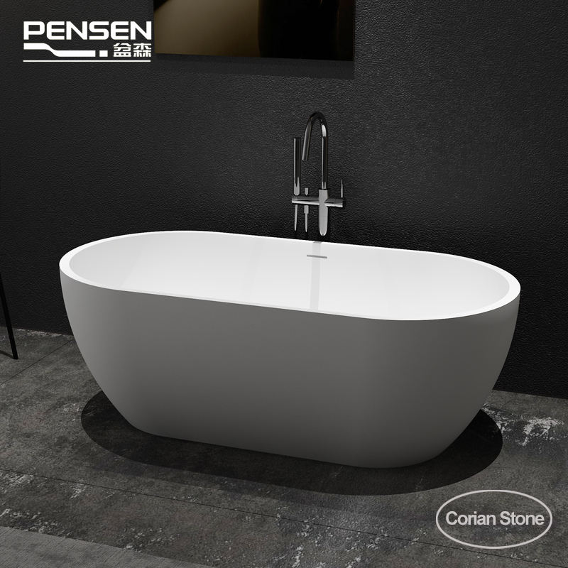 Pensen Item PS8810 Wit Bad 59Inch 150Cm Pure Acryl Solid Surface Mat Wit Vrijstaande Bad Ovale Stand Alone bad