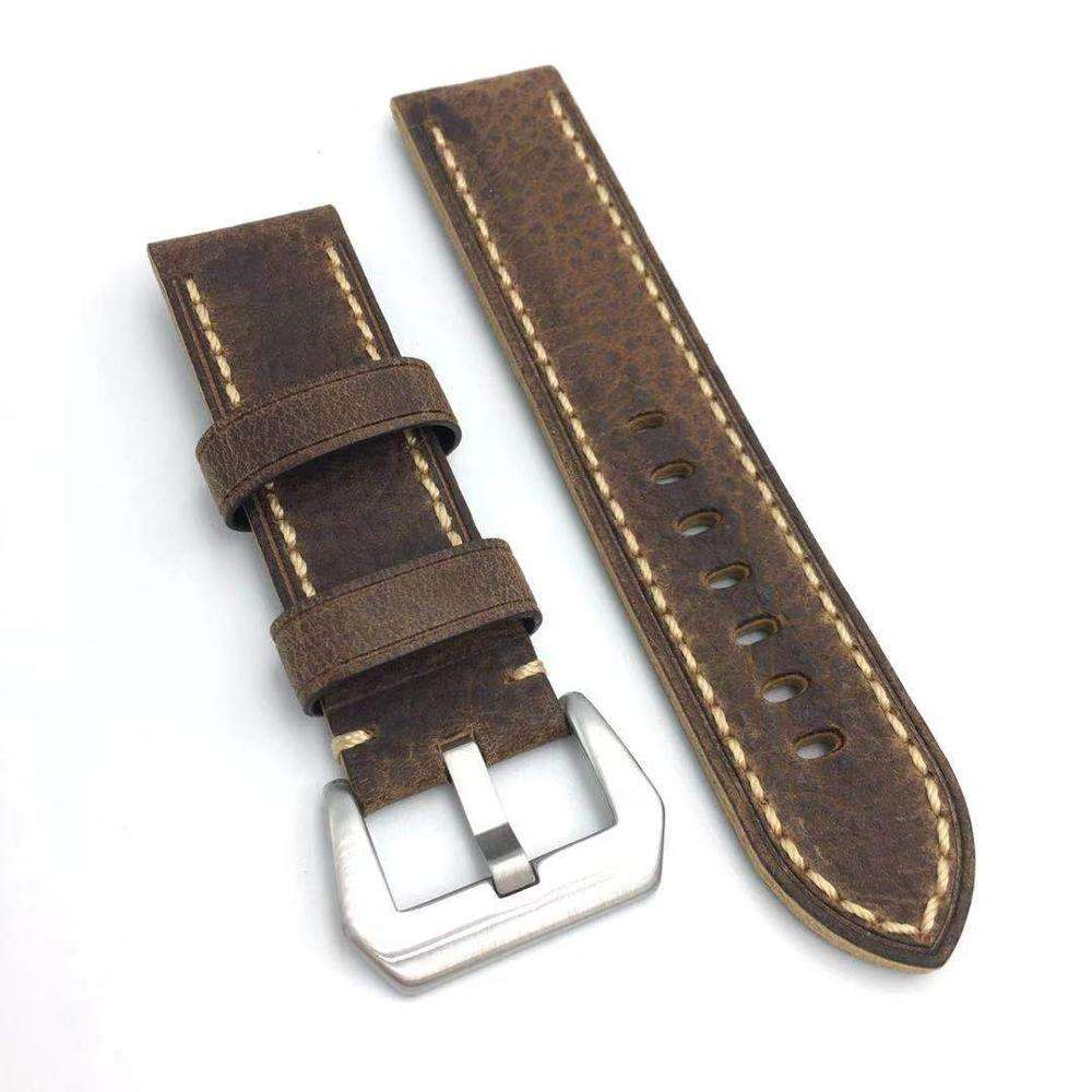 24MM 26mm brown panerai-Marina watch straps with PAM buckle