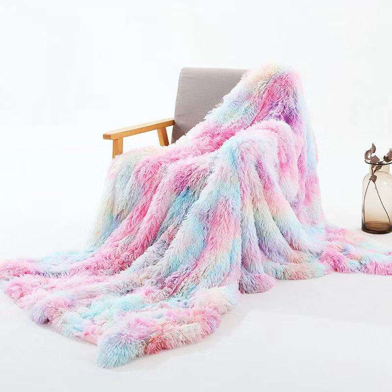 2020 new arrival super soft double plush rainbow mink sofa throw blanket manta