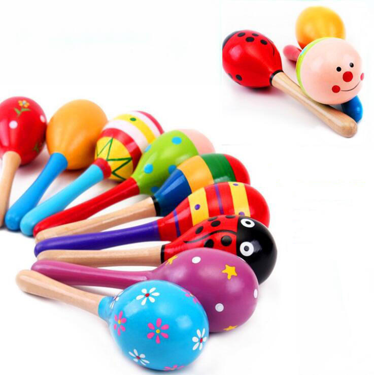 Baby Hand Shake wooden toy Noise Maker Musical Sand Hammer Egg Shaped Wooden Maracas