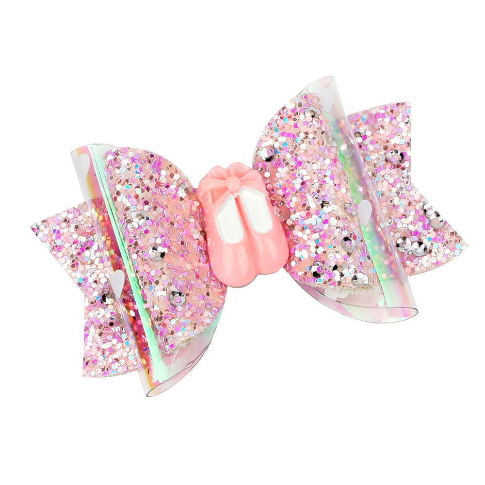 New Style 3 inch Pink Ballet Glitter Hair Bows Clips for Girls