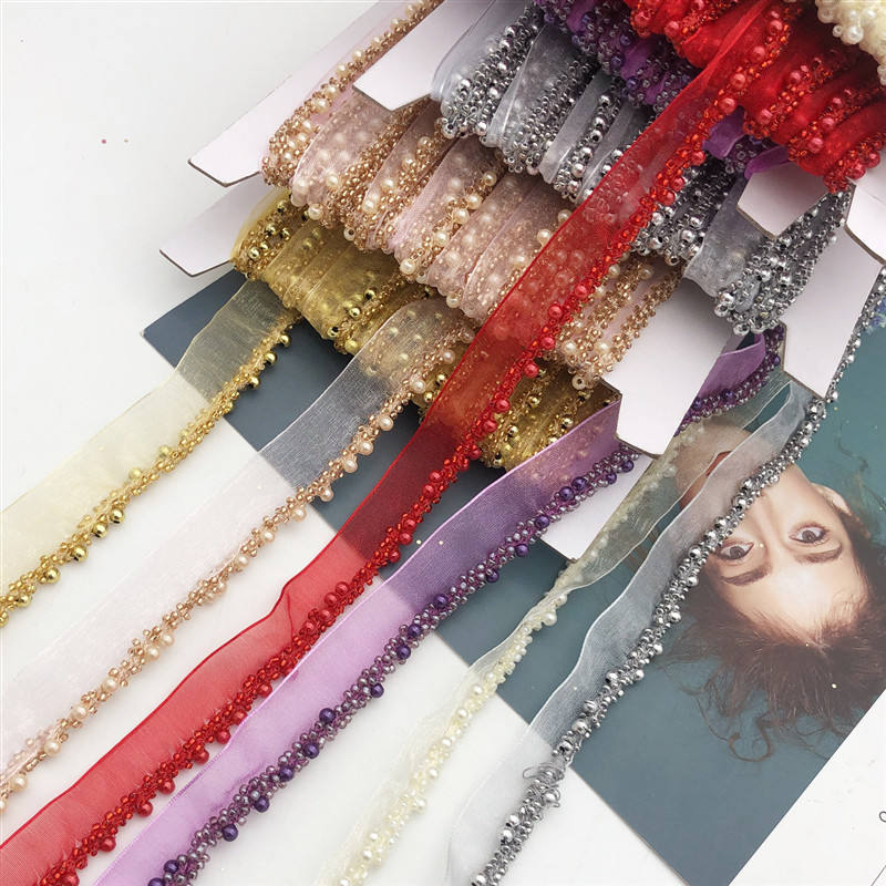 Braid Beaded Chain Trim Mesh Lace Ribbon Fabric Applique Sewing DIY 0. 78'' Width 2 orders