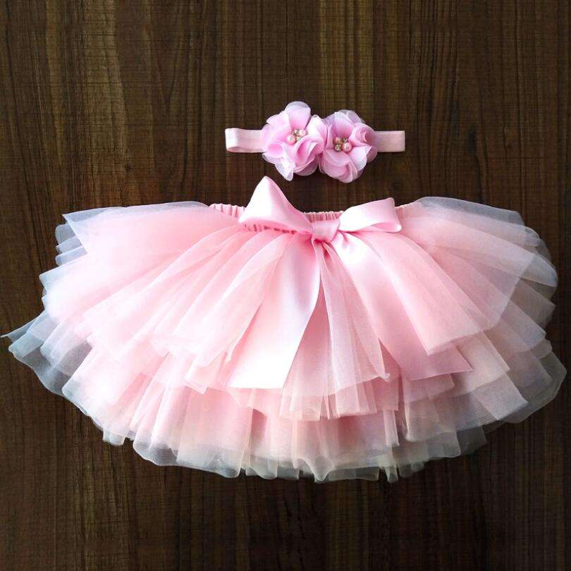 Baby Girls Dress Tulle Bloomers Infant Newborn Tutu Diapers Cover 2pcs Rainbow Tutu Skirt Girls Skirts Headband Set Y12482