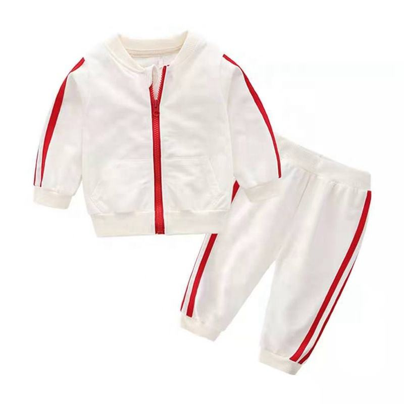 Autumn Fashion Baby Sport Clothes Cotton Long Sleeve Solid Zipper Jacket+Pants 2pcs Baby Boy Tracksuit Baby Clothes Sets Girl
