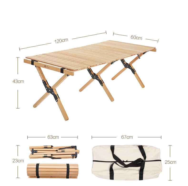 china customized luxury teak portable folding rolling up wood camping table