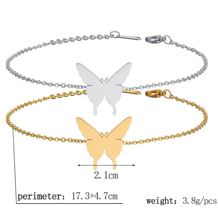 2020 Wholesale Stainless Steel Gold Plated Butterfly Ankle Bracelet For Women