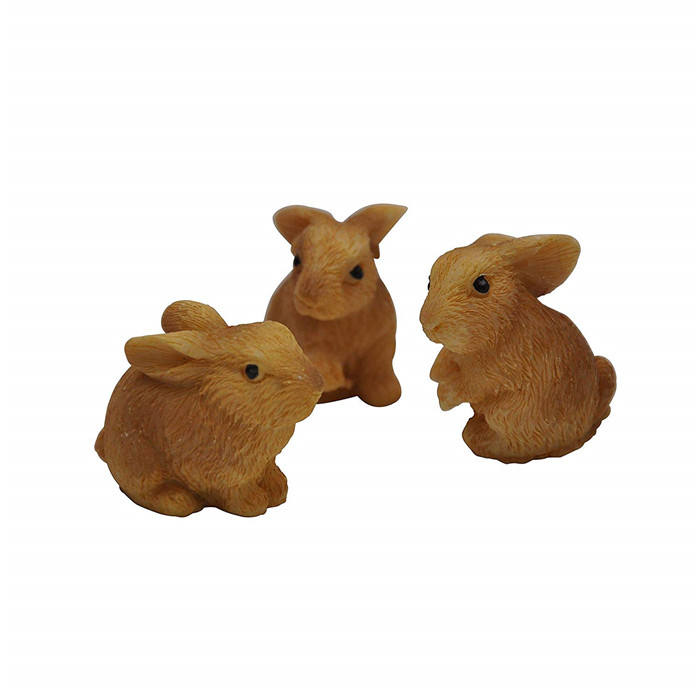 Polyresin/resin baby crafts Yard and Garden Minis - Rabbits - Resin - 3 pieces, Tan