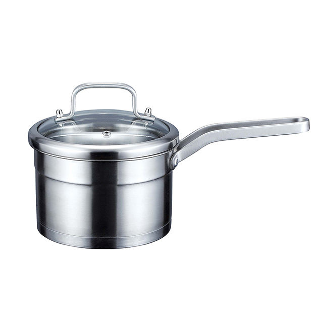 High quality 304 single handle stainless steel milk boiling pot noodle pot with tempered glass lid