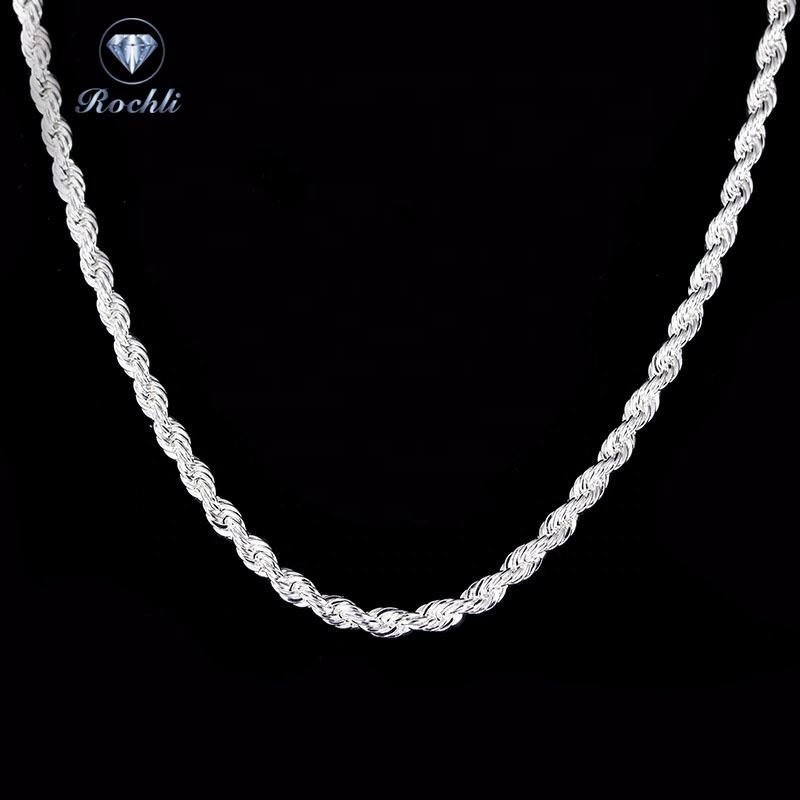 High Quality 925 Sterling Silver Necklace Silver Plated Rope Rope Chain 925 necklace silver