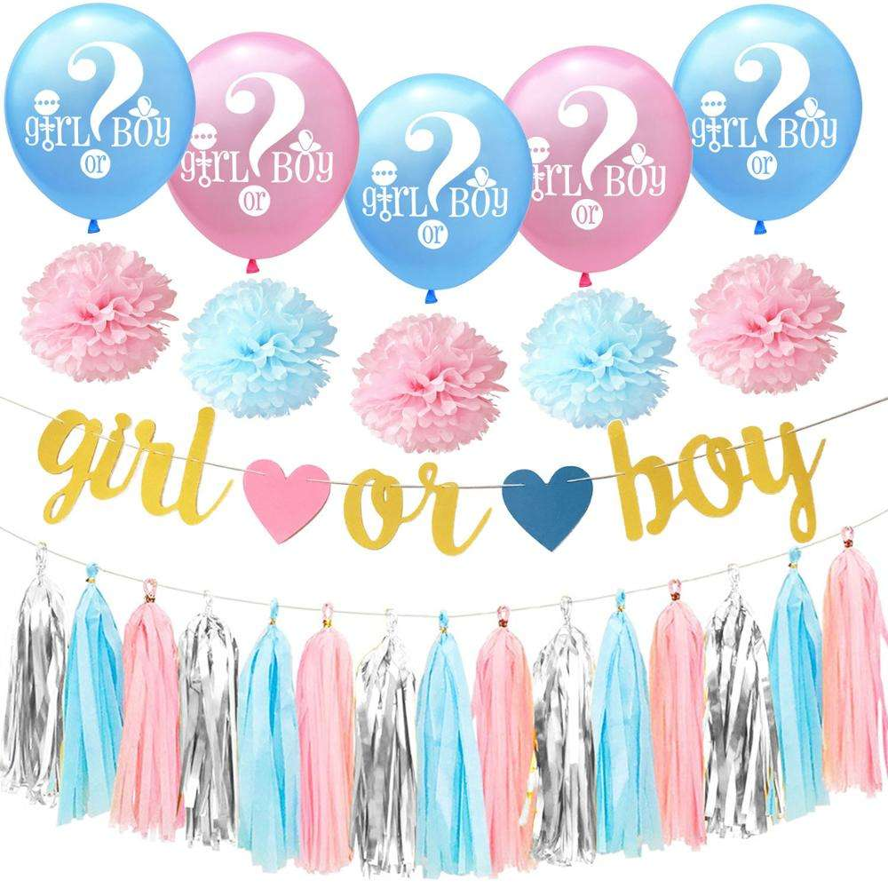 blue pink Gender Reveal party decoration paper flower pom poms girl or boy printed latex party balloon tassel banner set