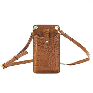 Portable crocodile pattern crossbody mobile phone bag case waterproof genuine leather cell phone bag