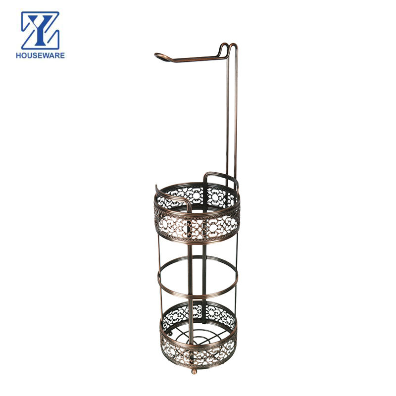 Factory Supply Metal Bathroom bath toilet antique kitchen floor standing tissue towel paper holder and storage stand rack