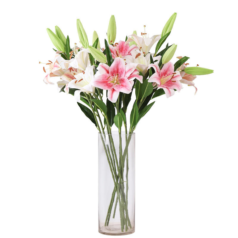 wholesale high grade false dried artificial lily flowers for home wedding decoration