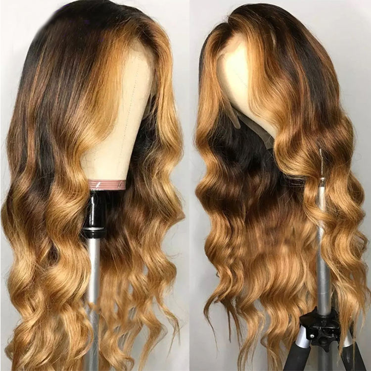Wavy Ombre Blonde Highlights Color 13x6 Deep part Lace Front Human Hair Wigs 180% Density 360 Wig High Density Hair Wigs
