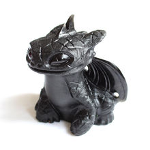 Customize Size Hand Carved Natural Black Obsidian Crystal Toothless Dragon Carving