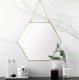 Modern Luxury Hotel Bathroom Mirrors Decorative Antique Gold Hexagon Mirrors Decor Wall On Sale