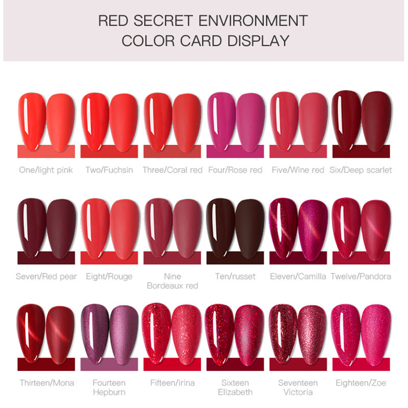 Co KEKOU Wijn Red nail gel 18 kleur Echte kleur Cat eye gel Rood secret Super display wit 2019 Populaire UV oem rubber top