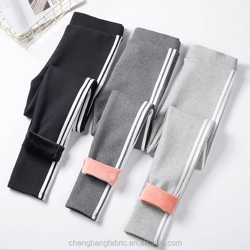 Chengbang Knitting Manufacture Soft and Warm Winter Fleece Lined Stripe Thermal Ninth Leggings for Women and Kids