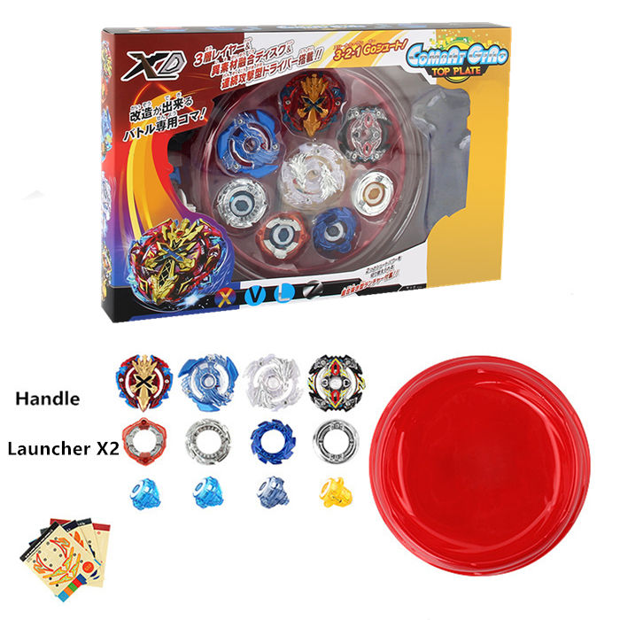Beyblade Burst Metal Funsion Bayblade Gyro 4 tops 2 Launchers with 4D Battle Arena Spinning Top Plastic Box Toys for Kids