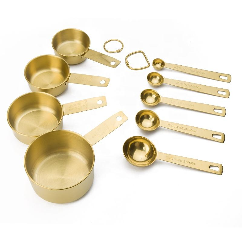 Gold/Rose gold Stainless Steel Measuring Cup and Spoon Stackable Set of 9 with 4 Measuring Cups 5 Measuring Spoons plus 2 Rings
