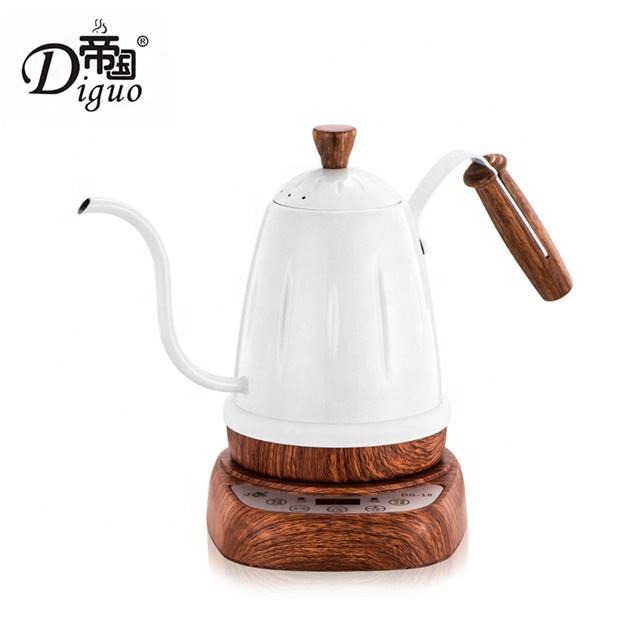 Diguo 700ml 24Oz Digital Electric Variable Temperature Setting White Color Stainless Steel Gooseneck Kettle For Tea Coffee