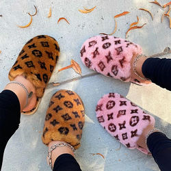 2020 new style winter flat bottom woolen slipper printed the