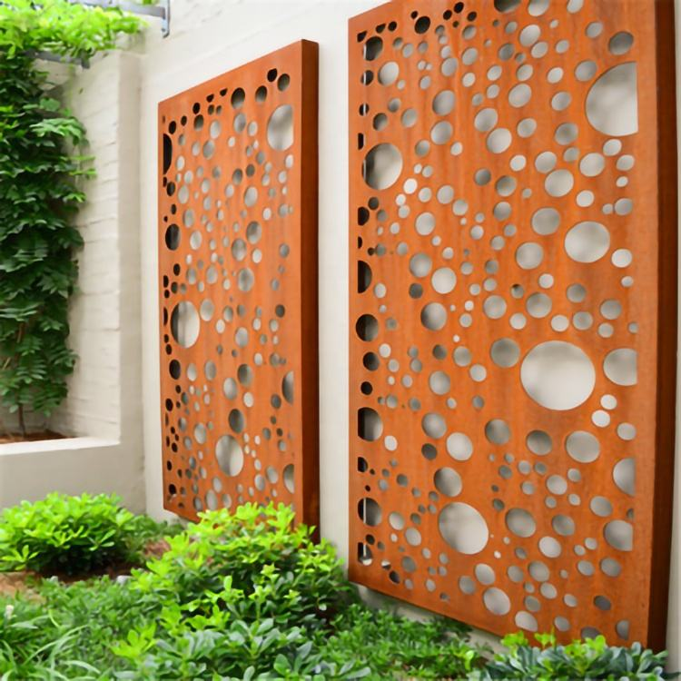 China Laser Cut Decorative Panels Wall Partition Corten Garden Divider Outdoor Metal Privacy Screens