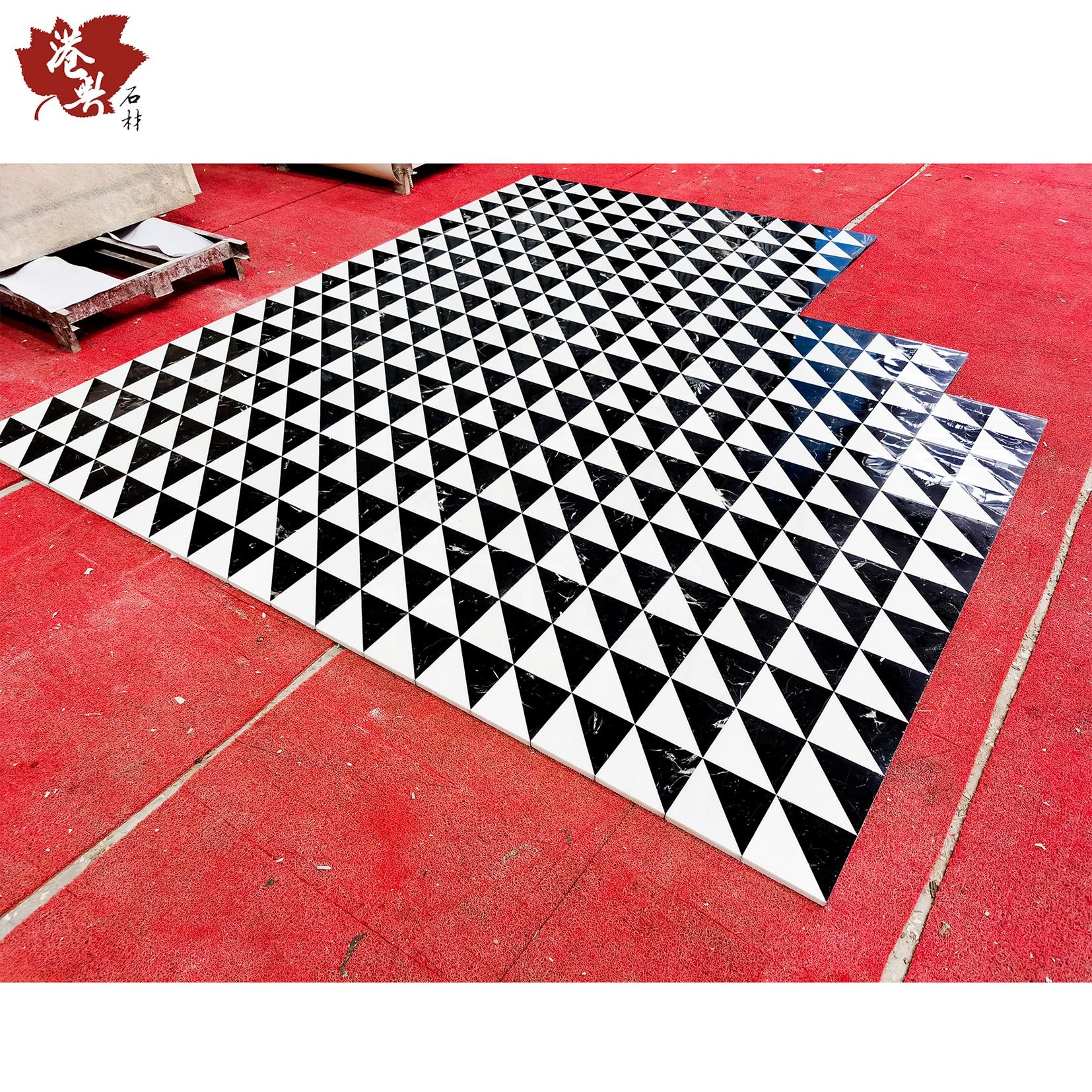 300X300 Wall Floor Art Magic Cube Tile, Marble Water Jet Ceramic Floor tile BLACK AND WHITE CHINESE MARBLE