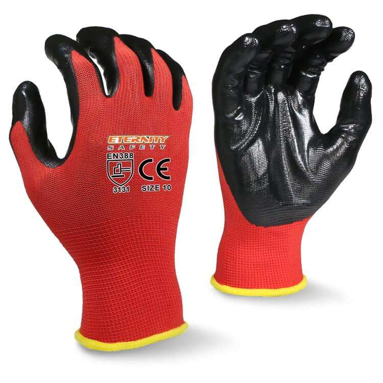 Construction Wholesale Reliable Quality 13G Red Polyester Black Nitrile Smooth Palm Coating Work Gloves