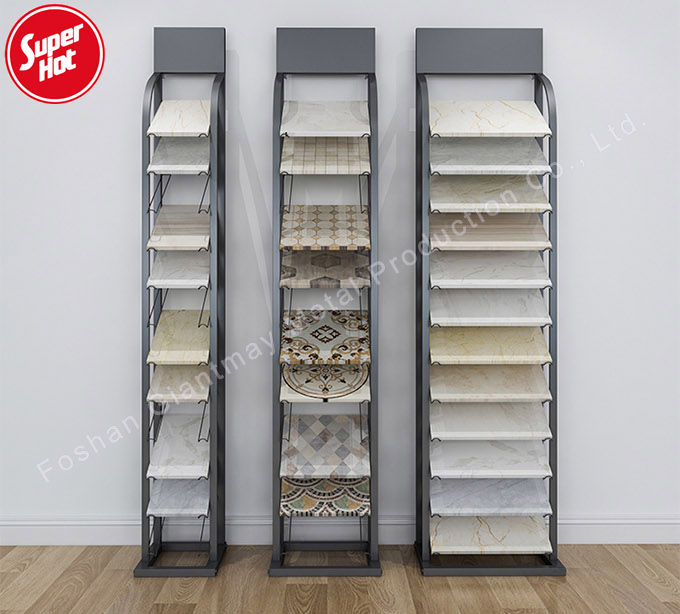 Practical metal ceramic sample showroom floor stand,granite marble shelf,mosaic stone cabinet boards,tile display rack
