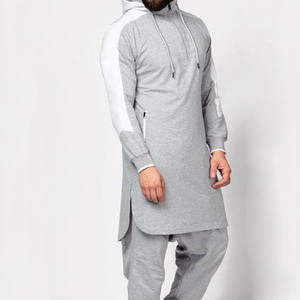 Hot sale arabic muslim hoodie thobe with zipper and size pocket islamic clothing men