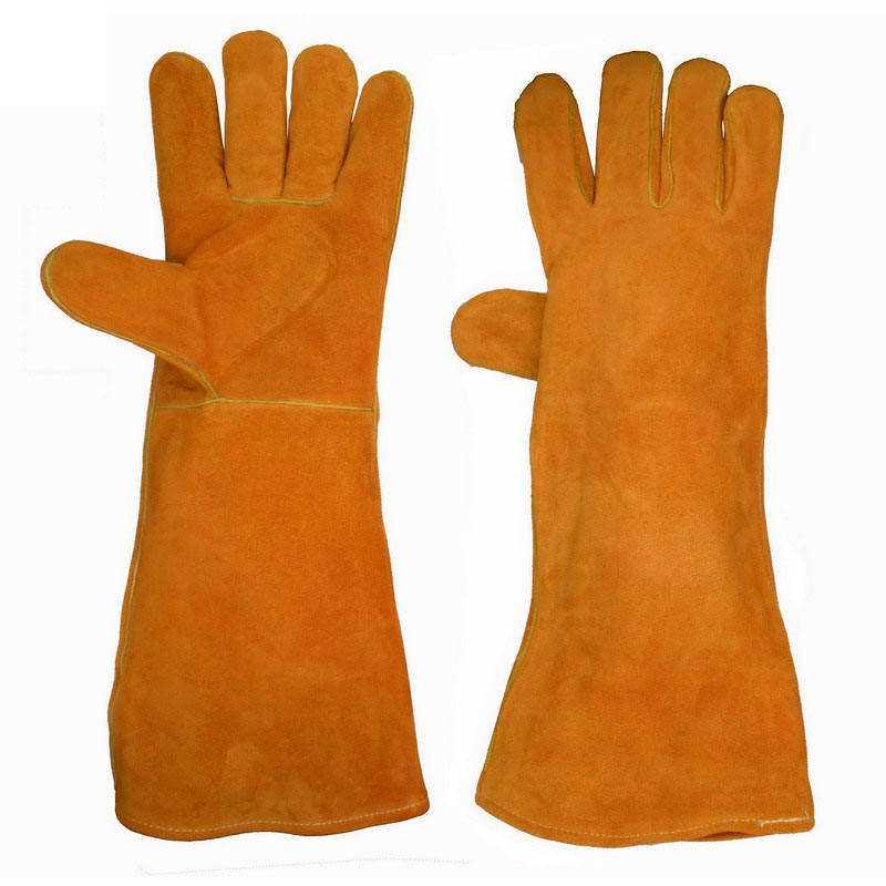"PRI 18"" AB Grade Split Cowhide Leather custom personalized Mig Winter Welding Gloves"