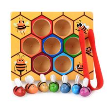 Toddler Bee Hive Preschool Wooden Toys,Bee Toy, Toddlers for Baby Early Educational Toddler Montessori Game Motor Skills Toy
