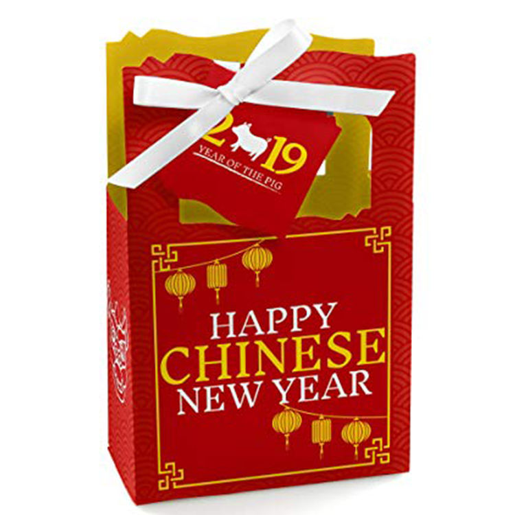 For Happy Chinese New Year Custom Print Logo Hot Stamping Festival Special Day Celebration Red paper Gift Bag With Handle