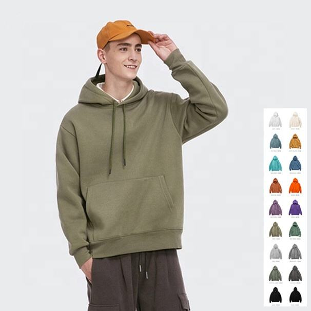 Wholesale plain hoodie unisex thick fleece drop shoulder pullover high street mens blank hoodies with no labels for men