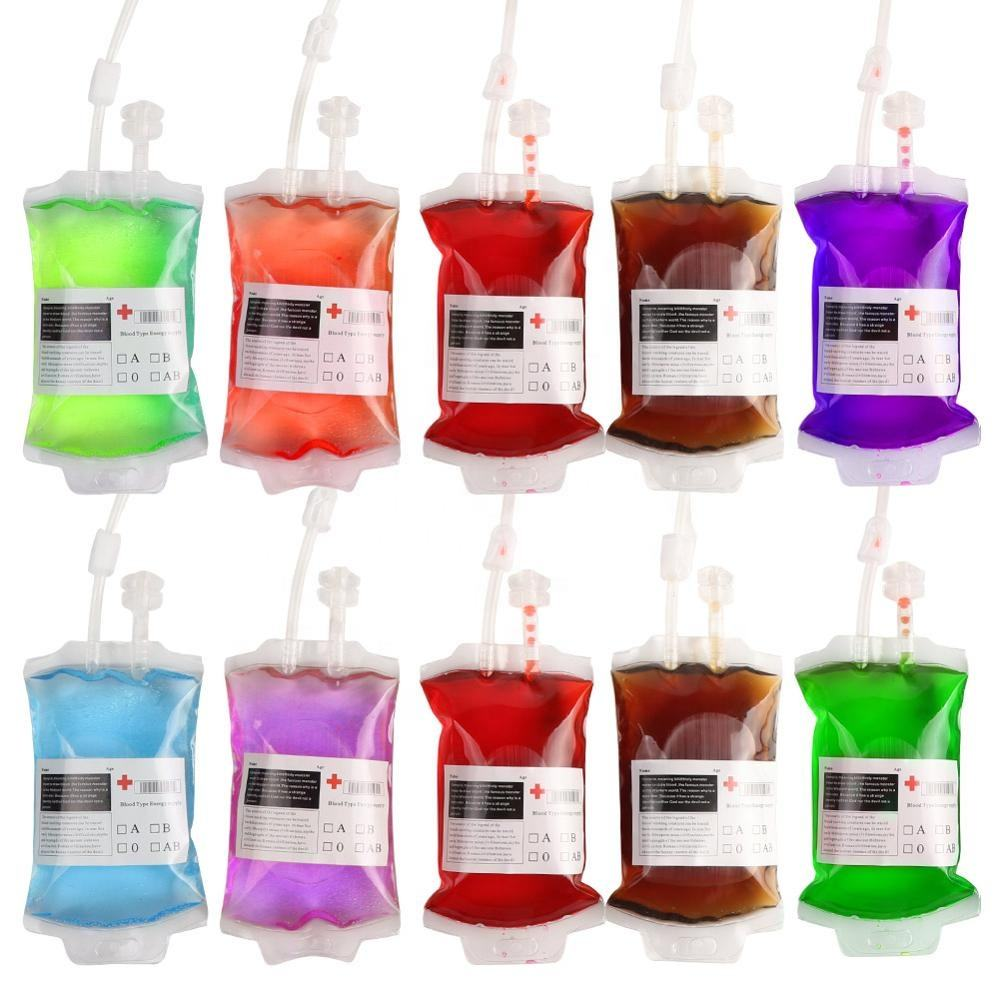 OurWarm Hot sale Halloween Party decorations Promotional Reusable Blood Bag for Drinks Container Supplies Pouch