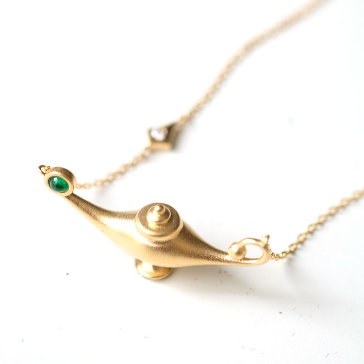 Fairy Tale Aladdin Magic Lamp Gold Necklace With Natural Emerald 14K Yellow Gold Bead Blast Finish